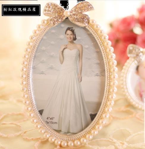 粉玫瑰精品屋~歐式珍珠水鑽相框~