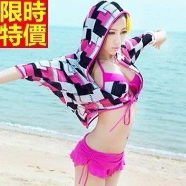 比基尼 泳衣-嚴選時髦連帽罩衫三件式女泳裝67h40[獨家進口][米蘭精品]