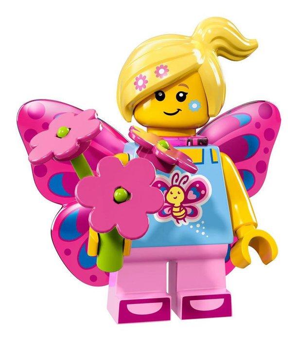 【LEGO 樂高】2017最新 積木/ Minifigures人偶包系列:17代 71018   #7 蝴蝶女孩+花