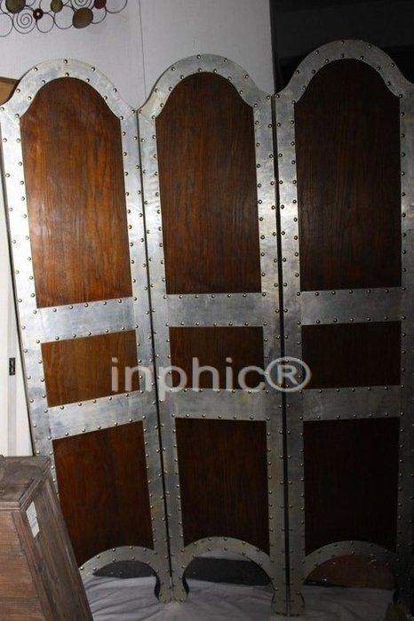 INPHIC-仿舊鐵木結合工藝 鉚釘屏風 折屏