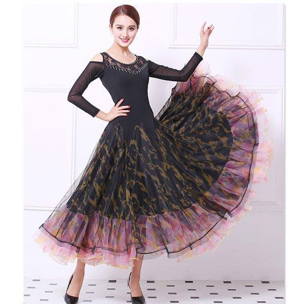 5Cgo【鴿樓】會員有優惠  557806753377 新款演出摩登舞套裝交誼舞國標舞舞蹈服裝迷彩連衣裙跳舞裙女大擺