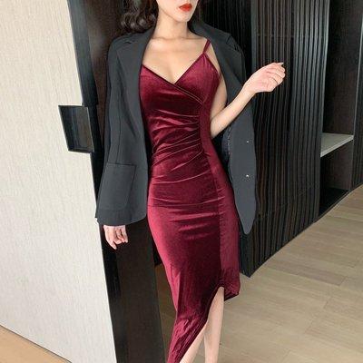 女裝 上衣 內搭性感吊帶絲絨連衣裙女秋裝新款名媛氣質顯瘦中長款打底裙子潮