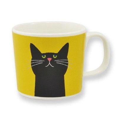 Cuppa?貓咪系列 黑貓芥末色 3號花卉馬克杯 送禮好物