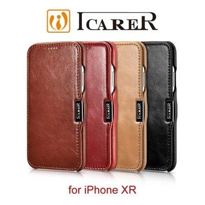 ICARER 復古系列 iPhone XR (6.1吋) 磁扣側掀 手工真皮皮套 保護殼 手機殼 側翻皮套
