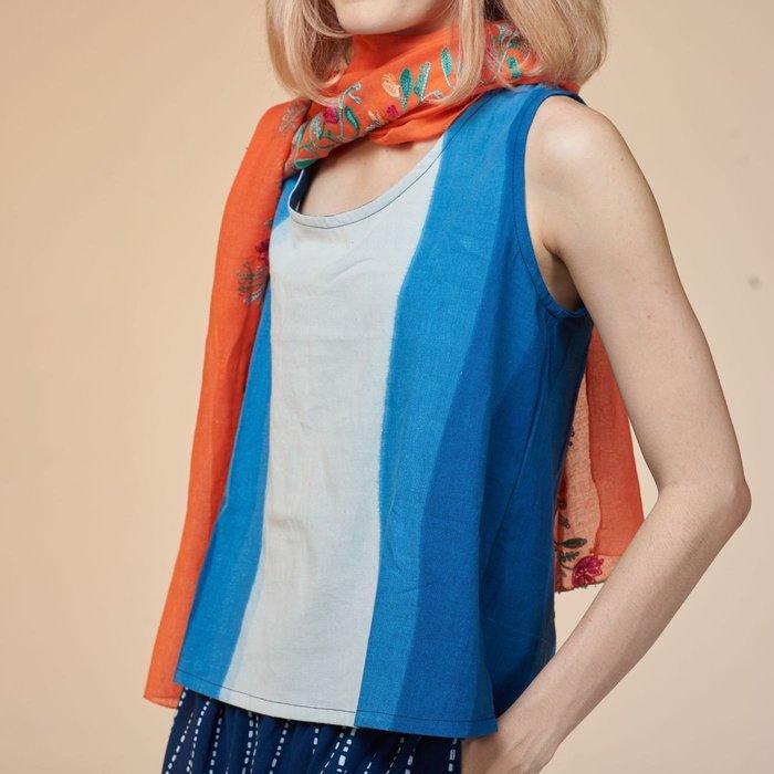 !中國藍Anewei漸層染藍染無袖上衣/背心-F-另有漸層染款