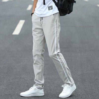 夏季褲子男韓版潮流寬鬆直筒運動褲學生長褲青少年條紋薄款休閒褲