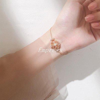 Empress丶通體925純銀鏤空花朵蕾絲手錬甜美簡約清新復古宮廷風正韓女飾品