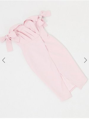 (嫻嫻屋) 英國ASOS-Lavish Alice時尚設計款粉紅色摺紙甜心領蝴蝶結袖及膝裙洋裝禮服SG20