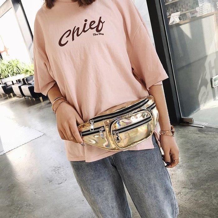 (免運)超火包包女新款時尚韓國斜背鐳射手機包chic學生腰包胸包【莉芙小鋪】
