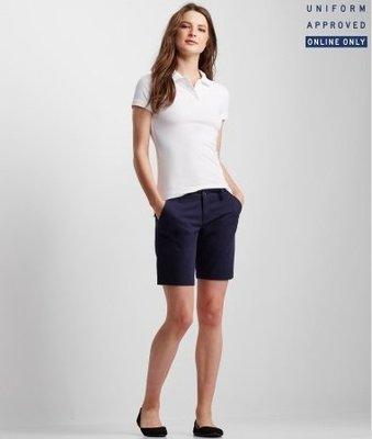 美國aeropostale女裝0或2號彈性棉深藍Curvy Solid Bermuda Uniform Shorts含運