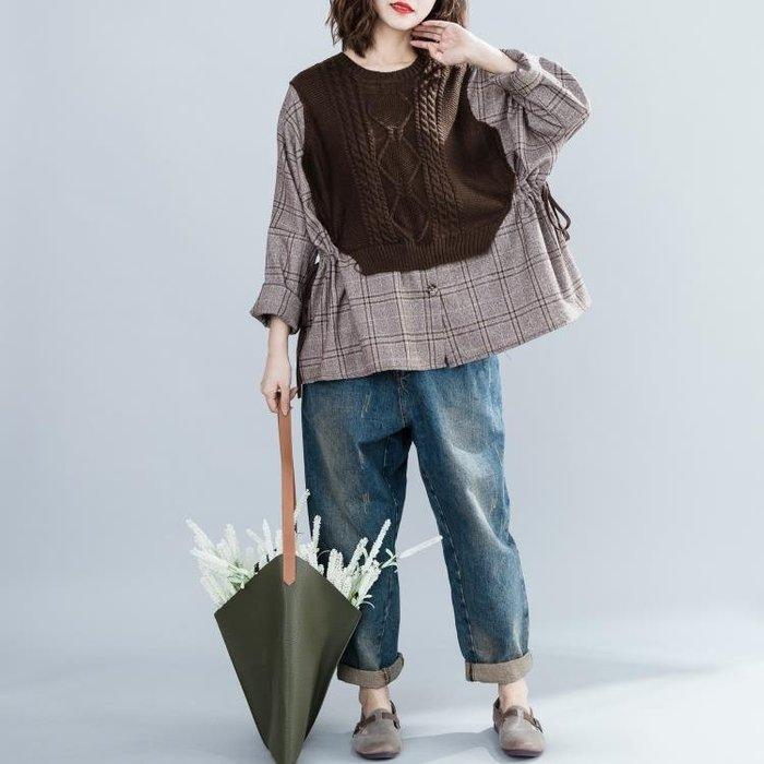 毛線假兩件襯衣 秋冬新款大尺碼女裝胖mm拼接收腰圓領格子長袖上衣潮