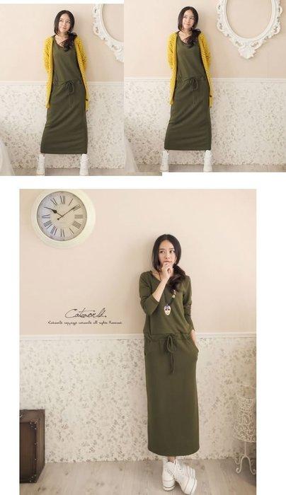 ☆Candy Box☆2014秋裝新款韓版連衣裙 軍綠 Y1912155