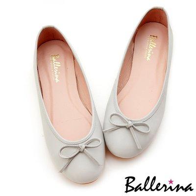 Ballerina-小羊皮蝴蝶結柔軟豆豆鞋-灰【BT500001AY】