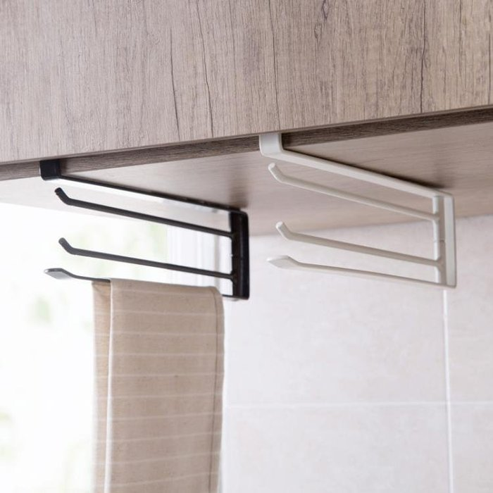 『可開發票』鐵藝旋轉三桿抹布架廚房櫥櫃掛毛巾架浴室免打孔掛架毛巾『自由時尚』