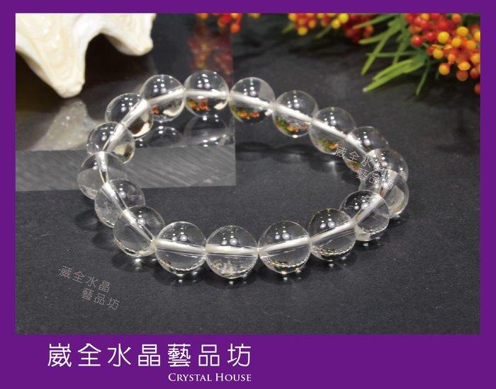 【崴全水晶】【隨機出貨】天然 能量 清透 白水晶  手鍊 【10mm】