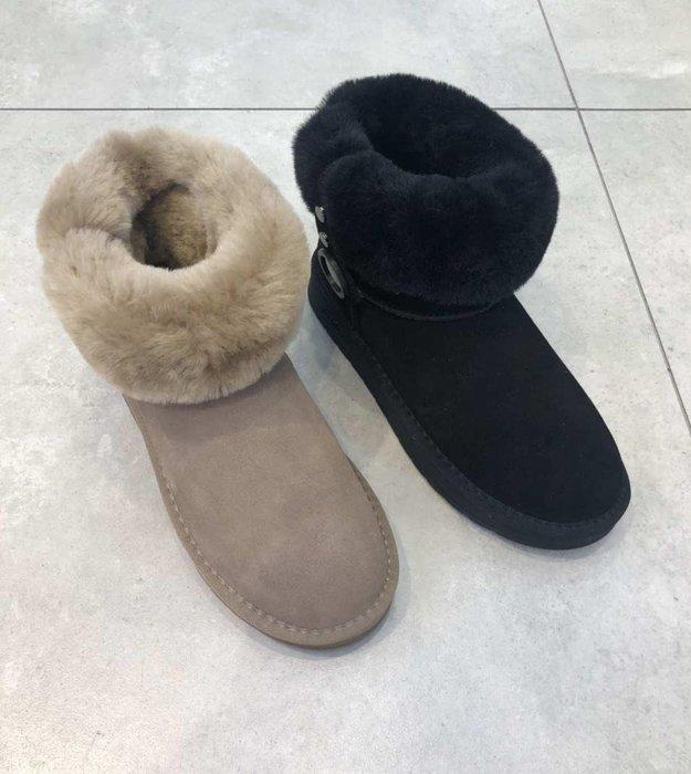 每週韓國空運2次 NAALi 羊毛+羊皮 反折內鋪毛短筒雪靴