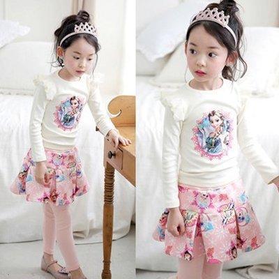 2016新款~韓版冰雪奇緣公主純棉長袖上衣+裙褲二件套另有聖誕舞會小公主洋裝禮服 艾莎公主 表演服