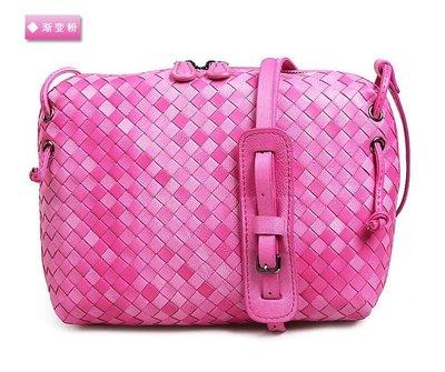 【M商店】最後1個優惠價 ~ 編織 桃粉雙色小羊皮亮麗背包 - 肩背、斜背@08