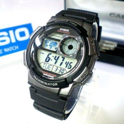 CASIO手錶 經緯度 百米防水 仿飛機儀表面板 LCD模擬指針 台灣代理公司貨保固【↘740】 AE-1000W-1B 彰化縣