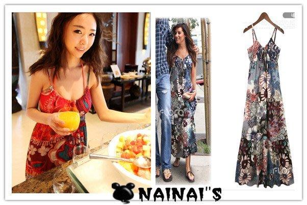 【NAINAIS】Shell‧FF 8743 韓版 海洋度假波西米亞長裙 大花小花印花細肩帶綁帶高腰洋裝 2色預
