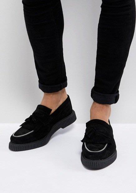 ◎美國代買◎ASOS金屬拉鏈裝飾流蘇裝飾鞋面英倫龐克搖滾風麂皮流蘇無鞋帶loafer休閒鞋~歐美街風~大尺碼