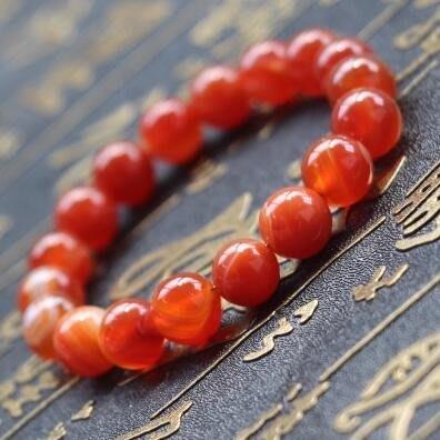 天然紅纏絲瑪瑙手鍊 單圈女本命年水晶玉髓手串轉運珠飾品禮物