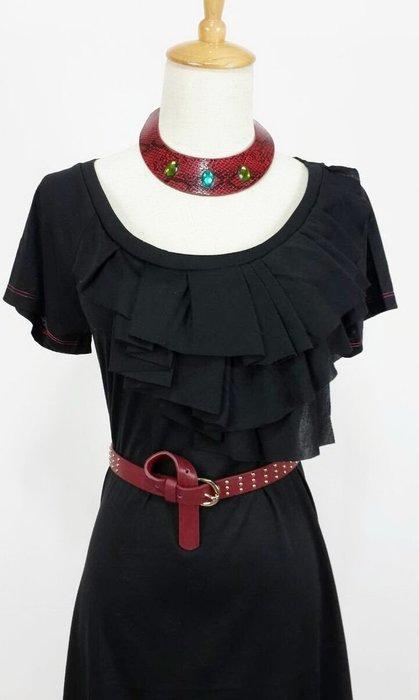 黑色綿質休閒小洋裝附項鍊  現貨一件喔!~