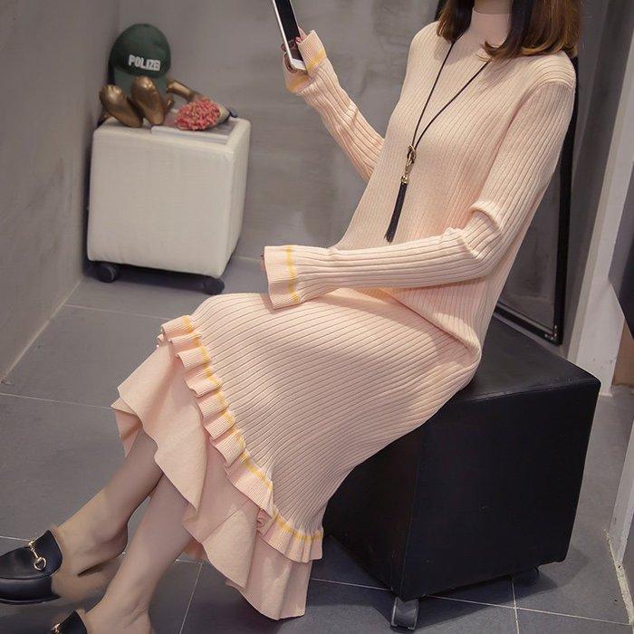 [C.M.平價精品館]M~4XL舒適簡約小荷葉裙襬小高領長袖針織洋裝  加大碼