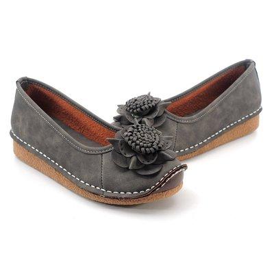 ❤含運❤ │鞋念 美人館│MIT手作花飾全縫線平底休閒鞋 灰色40碼【882-04】