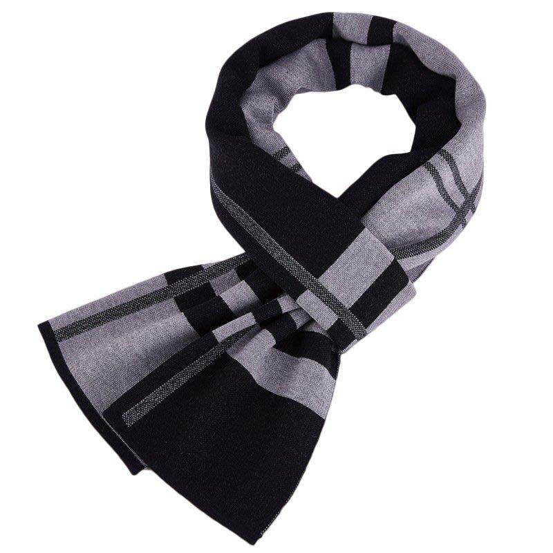 圍巾 針織披肩-羊毛拼色提花休閒男配件3色73wi63[獨家進口][米蘭精品]