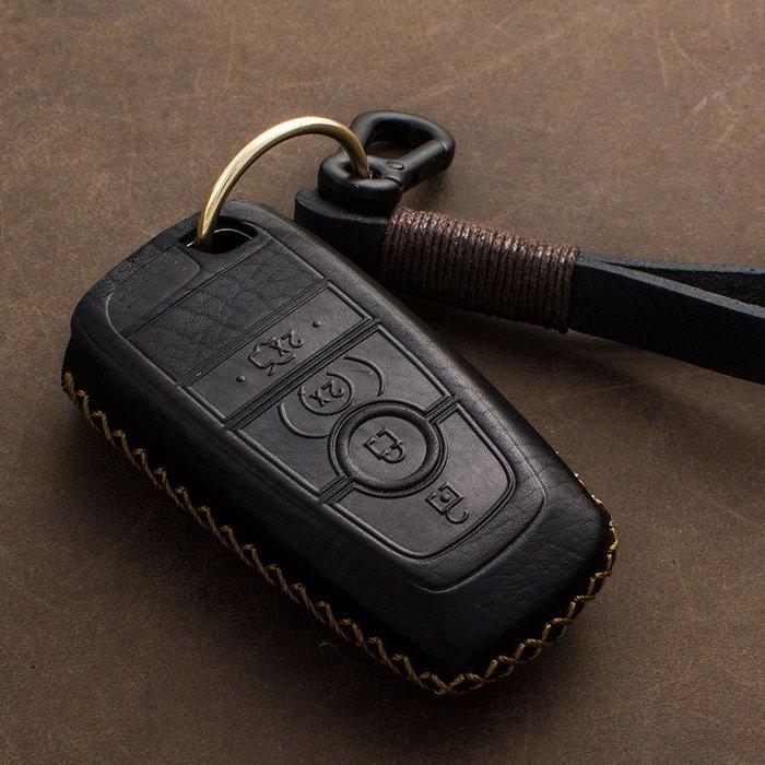 適用于福特智能鑰匙包17款蒙迪歐 18款銳界金牛座胎牛皮摔紋皮包
