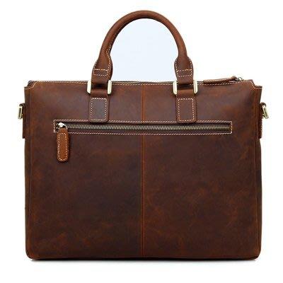 手提 包 真皮公事包-棕色瘋馬皮14吋薄款男包包73ur35[獨家進口][米蘭精品]