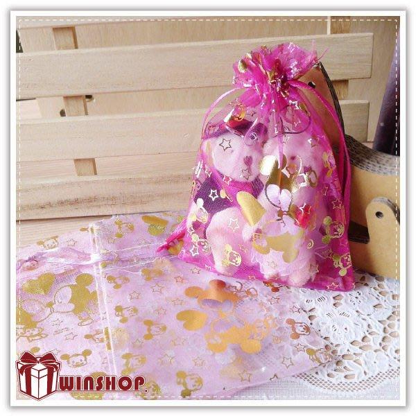 【贈品禮品】A2062 迪士尼燙金紗袋-14x10cm/正版授權迪士尼/束口袋/DIY婚禮小物包裝袋禮品袋