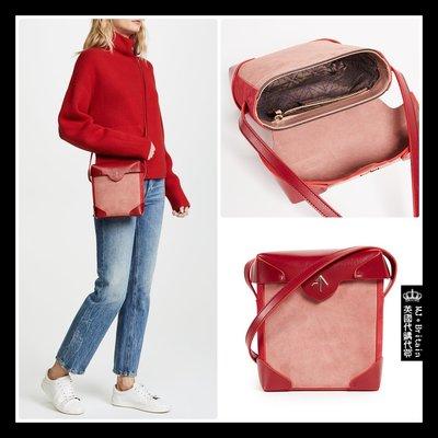 ♔MissyJ英國代購♥ Manu Atelier 歐美知名箭頭包 Mini Pristine 紅粉全牛皮翻蓋單肩小方包