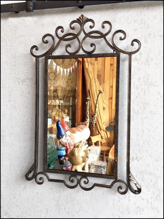 古典鄉村風 鍛造鐵藝造型鏡子 仿古刷舊方形壁鏡掛鏡穿衣鏡吊鏡化妝鏡廁所鏡子玄關鏡【歐舍傢居】