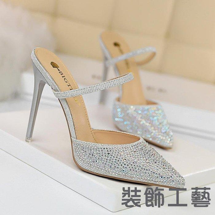 86-20韓版高跟鞋彩鉆女鞋細跟淺口尖頭鏤空一字帶水鉆高跟女拖鞋
