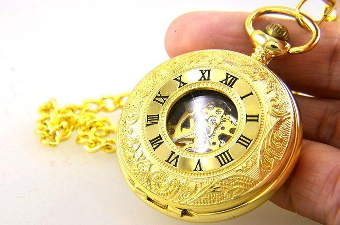 (六四三精品)錶徑4.5公分.哥德式絕美鏤空手上鍊機械懷錶.此功能瑞士錶數萬元!