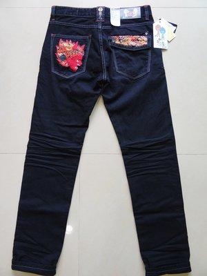【Jeans館】BIG TRAIN 豹面赤鬼小直筒 黑 L號 30~32腰 墨達人 大列車 牛仔褲 丹寧褲