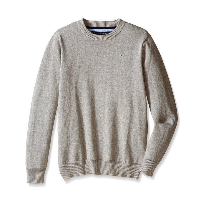 美國百分百【全新真品】Tommy Hilfiger 素面 圓領 針織衫 TH 棉質 線衫 毛衣 灰色 S號 H303