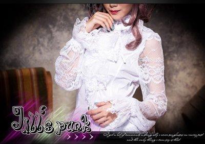 Oo吉兒oO縷空貴族燈籠袖襯衫~黑寡婦性感蜘蛛精 附領巾 白 gothic【JR21095A】