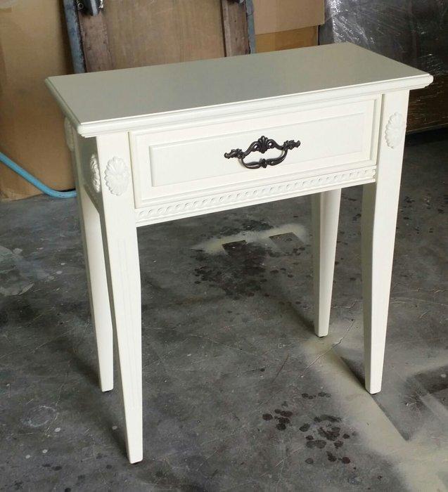 美生活館 全新 古典家具 家具訂製 客製化 紐西蘭松木全原木 單抽 象牙白色 書桌 化妝桌 玄關桌 也可修改尺寸與顏色