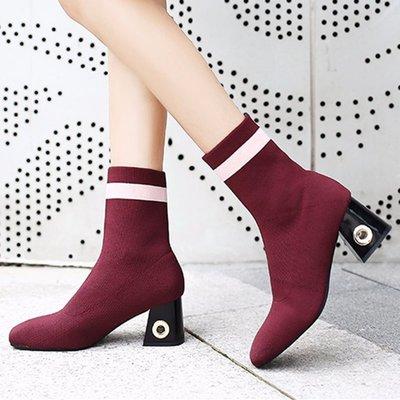 【絕品好店】2017秋冬新款歐美時尚彈力襪子高跟靴方頭粗跟中筒靴女靴