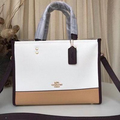 【小怡代購】 全新 COACH 2182 新款Dempsey貼扣托特包 購物袋拼色 單女士肩斜跨提手包 超低直購