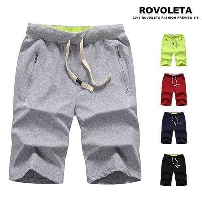 多素抽繩運動短褲.棉短褲.男短褲【TJ-KS18】(ROVOLETA)