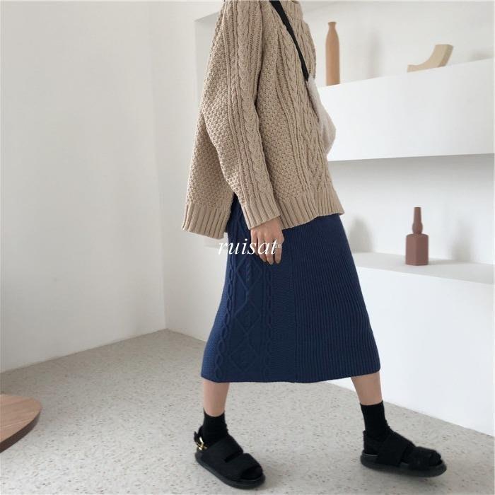 【ruisat】包郵 CHI風冬季復古松緊高腰中長款麻花菱格開叉針織半身裙毛線包臀裙