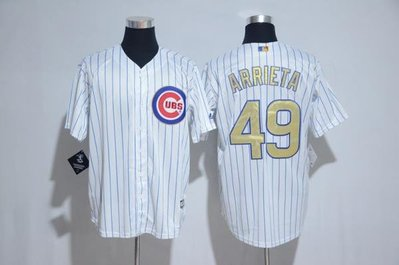 Cubs球衣MLB小熊隊棒球服49號ARRIETA灰白色金字總冠軍標短袖T恤 ycwk608