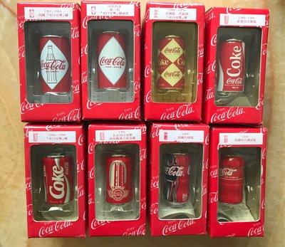 可口可樂 50- 00 年 迷你罐擺設 一套(八個連座)