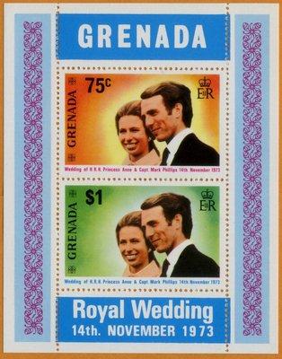 郵紳_小型張_46874_格瑞那達_皇家婚禮 安妮公主_1973年_原膠新票_美品_低價起標無底價