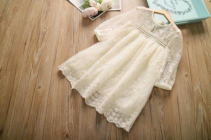 【溜。溜。選物】春季新款女童精緻繡花蕾絲中袖公主裙洋裝
