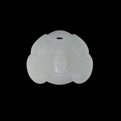 《博古珍藏》和闐羊脂白玉觀音佛首鎖形玉佩.39公克.老坑料溫潤.玉珮項鍊.行家首選.超值回饋